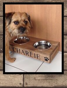 SMALL WOOD 2 BOWL FEEDING STATION PERSONALISED RAISED FEEDER
