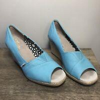 Toms Sky Blue Canvas Peep Toe Wedge Sandals Espadrilles Shoes Womens 9.5