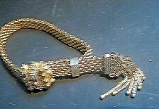 Bracelet Garnets Pearls and Tassels Antique Victorian Gold Filled Mesh Sliding