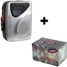 Retro Silver Personal Walkman Tape Player / Recorder / Radio + 5 Pack Cassettes