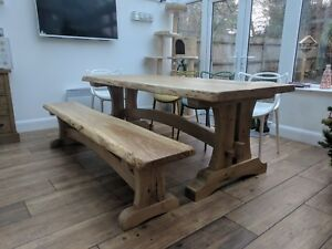 Oak Live Edge Wood Slab Dining Table And Rustic Oak bench 7 ft long