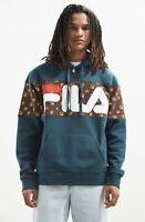 Fila + Urban Outfitters Monogram Logo Hoodie Sweatshirt green brown pocket L NEW