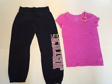 Justice Girls Purple Nwt Tee Top & Navy Blue Sparkle Sweat Pants Size 10 Euc