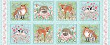 """Studio E Forest Friends by Nancy Archer 4350 11 Blue Blocks 24"""" Panel Cotton Fab"""