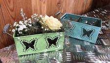 Metal Plant Pot Basket Glass Seed Spring Flower Garden Tea Light Candle Holder