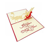 5pcs 3D Pop Up Christmas Cards Handmade Holiday Gift Greeting Cards for