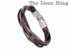 Urban Vintage style Braided Genuine Brown Leather & Hemp Cord Bracelet