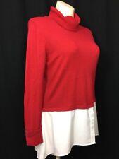 NEW XL Sweater Red Turtleneck High Low Shirt Hem Layer Long Sl Cuff Legging Top