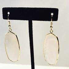 Earring drop hook pendant slate white cats eye natural stone gold 14k plated