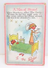 Antique Raphael Tuck & Sons A Man Of Straw Valentine's Day Postcard Free S/H