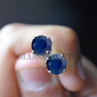 14k White Gold Fn Round Cut Blue Sapphire Solitaire Wedding Halo Earrings Stud
