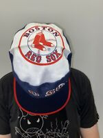 Vintage 80s Boston Red Sox Painters Hat Cap Retro MLB Spellout Red White Blue