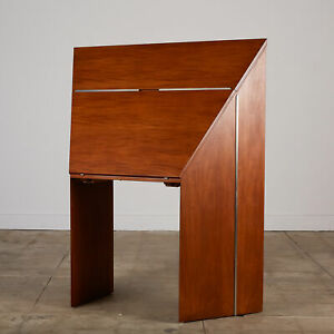 JAY SPECTRE 1980S MAHOGANY DROP FRONT SECRETARY DESK WITH STAINLESS STEEL ACCENT