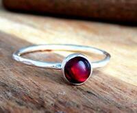 Garnet Stone Ring Solid 925 Sterling Silver Ring Band Ring Handmade Ring SR13