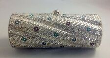 AUTHENTIC JUDITH LEIBER CRYSTALS WITH FLOWERS MINAUDIÈRE CLUTCH!