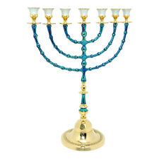 "Brass copper & Enamel XXL 16"" Menorah Judaica Israel candle stand Jerusalem gift"