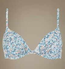 NEW 34 A PLUNGE BRA UNDERWIRED T-SHIRT BRA PETROL MIX MARKS & SPENCER FLORAL