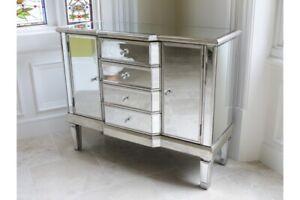 Venetian Mirrored Sideboard Silver 4 Drawer 2 Door - More items in this Range