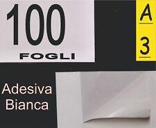 100 FOGLI CARTA ADESIVA BIANCA  MAT X ETICHETTE A3 FOTO