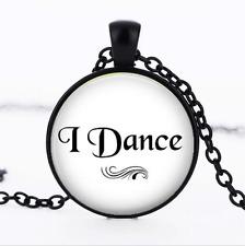 I Dance Black Glass Cabochon Necklace chain Pendant Wholesale