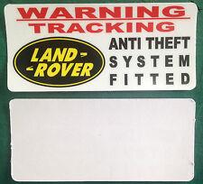 WARNING THEFT STICKER TRACKER LAND ROVER RANGE ROVER INSIDE WINDOW X2