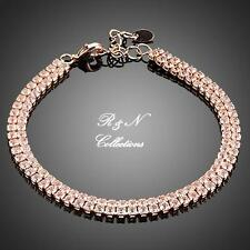 18K Rose Gold Plated with Rows of  Swiss Cubic Zirconia Bracelet (B644-32)