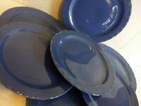 7 CORONADO POTTERY CALIFORNIA   ART DECO PLATES BLUE MID CENTURY MODERN ATOMIC