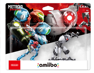 Nintendo amiibo Metroid Dread - Samus and E.M.M.I. Figures (2 Figure Set), New