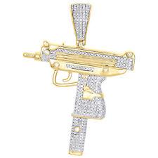 "Gun Pendant 2.20"" Pave Charm 0.90 Ct. 10K Yellow Gold Diamond Uzi Machine Pistol"