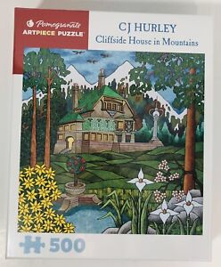 *New* CJ Hurley 500 Pc Pomegranate Artpiece Puzzle Cliffside House in Mountains