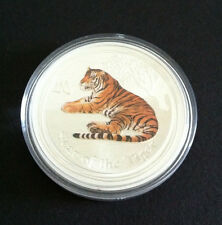 2010 $1 YEAR OF THE TIGER 1oz SILVER COLOURED COIN