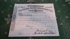More details for the felted fabric depot. ltd., £5 share,certificate. 1874