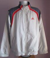 VTG Mens ADIDAS Pale Grey/Blue Polyester Track Suit Sport Top Size L/XL  (27e)