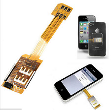 Dual SIM Card Adapter Converter Standby Flex Cable For Samsung Android 2 In 1
