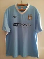 Manchester City Football Shirt Jersey 2011 2012 Home Top Umbro Blue Mens Size