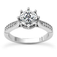 Antique Solitaire .76 Carat SI1/H Round Diamond Engagement Ring 14K White Gold