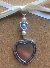 Ramo De Novia Foto del encanto de plata del corazón granos de Swarovski memoria corazón con marco