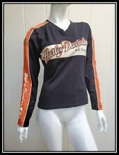 "Embroidered ""Harley Davidson"" stretch 3D graphic Black Orange Top Sz M"