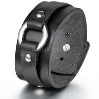 Punk Pock Mens Wide Leather Belt Bracelet Cuff Wristband Bangle Black / Brown