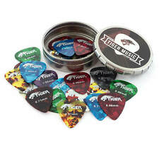 More details for tiger celluloid guitar picks and tin 25x guitar plectrums varying gauges