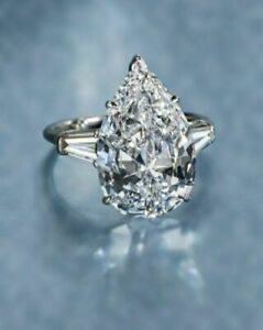 3.30 Carat CZ White Pear Shaped CZ Wedding Women's Ring Pure 925 Sterling Silver