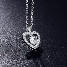 QUALITY HEART CHARM NECKLACE MADE WITH SWAROVSKI CRYSTALS WHITE GOLD PLATED ZX1