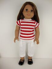 2 piece Summer Outfit White Capri's Red Striped T-shirt for 18 Inch Dolls