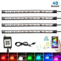 "4x 9"" 5050 12LED Car Strip Interior RGB Lights 12V Caravan Boat White Blue Red…"