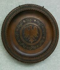 VINTAGE HAND CARVED WOODEN PLATE BIRD METAL INLAY