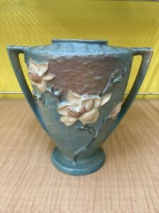 Roseville Magnolia Double Handled Blue Green 94-9 Vase