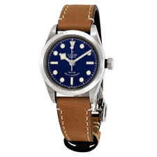 Tudor Black Bay Automatic Blue Dial Ladies Aged Leather Watch M79580-0004
