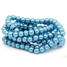 35 Blue Glass Pearl Imitation Round Beads 6mm - Bd121