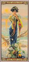 1894 Peacock Series Evening Hydrangea Vintage French Nouveau Art Poster Print