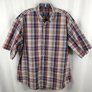 Pendleton Plaid Shirt Mens Large Short Sleeve Button Down Cotton Casual Blue Red